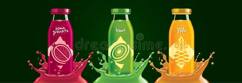 Fruchtsaftflaschenset, Granatapfelsatz, Kiwi, Ananassaufkleber stockfotos