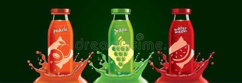 Fruchtsaftflaschenset, Pfirsich, Trauben, Aufkleber für Wassermelonen stockfotografie