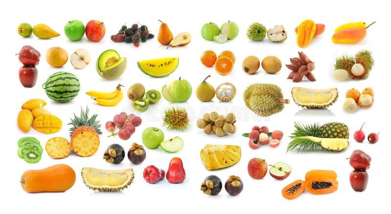 Fruchtsammlung auf weißem Hintergrund lizenzfreie stockfotos