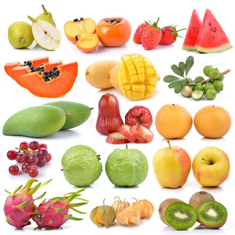 Fruchtsammlung lokalisiert auf weißem Hintergrund stockbild