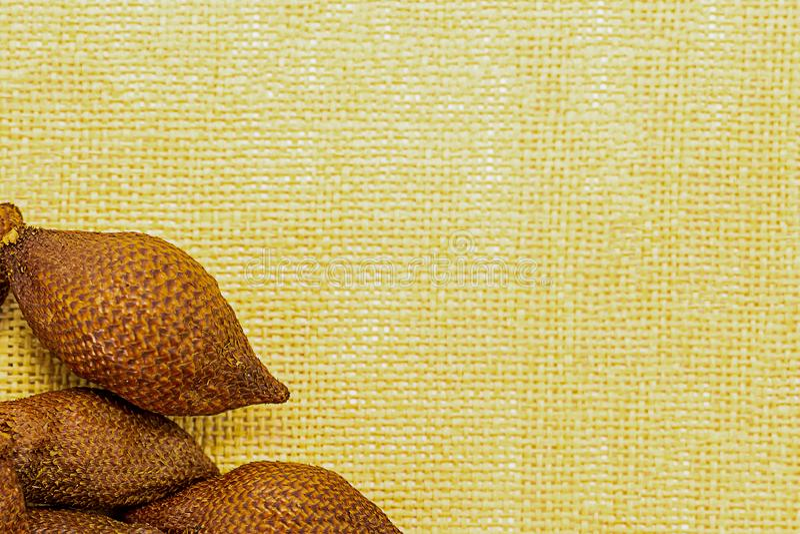 Fruchtsatzrahmen auf einem Hintergrund gelben Modells Segeltuchdekorationsdekorbasiskopienraumschlangenfrucht-Asiens Malaysia Tha stockbilder