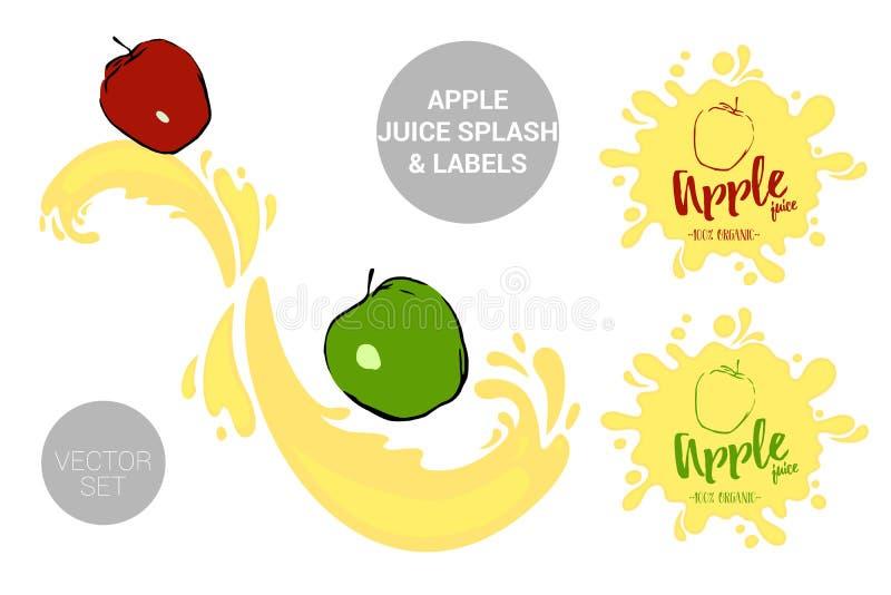 Fruchtvektor-Paketsatz rote und grüne Äpfel der Karikatur auf Saft spritzt Organische Fruchtaufkleberumbauten lizenzfreie abbildung
