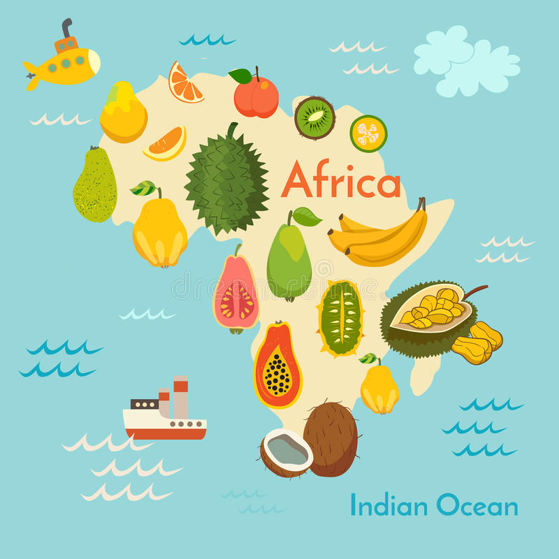 Fruchtweltkarte, Afrika lizenzfreie abbildung