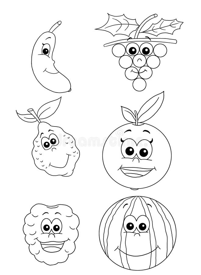 Download Fruit 2 - bw stock illustration. Image of melon, fishes - 16806127