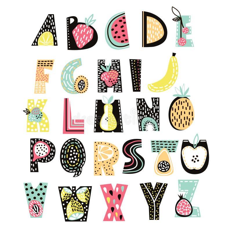 Fruit abstrait d'alphabet Police créative d'enfants Grand pour l'éducation, décor à la maison illustration de vecteur