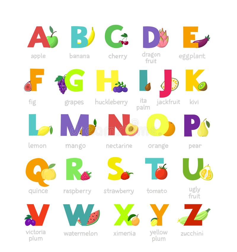 Fruit alphabet vector alphabetical vegetables font and fruity apple banana letter illustration alphabetically set of abc royalty free illustration