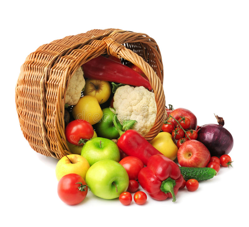 Free Fruit And Vegetable In Basket Stock Photos - 44156483