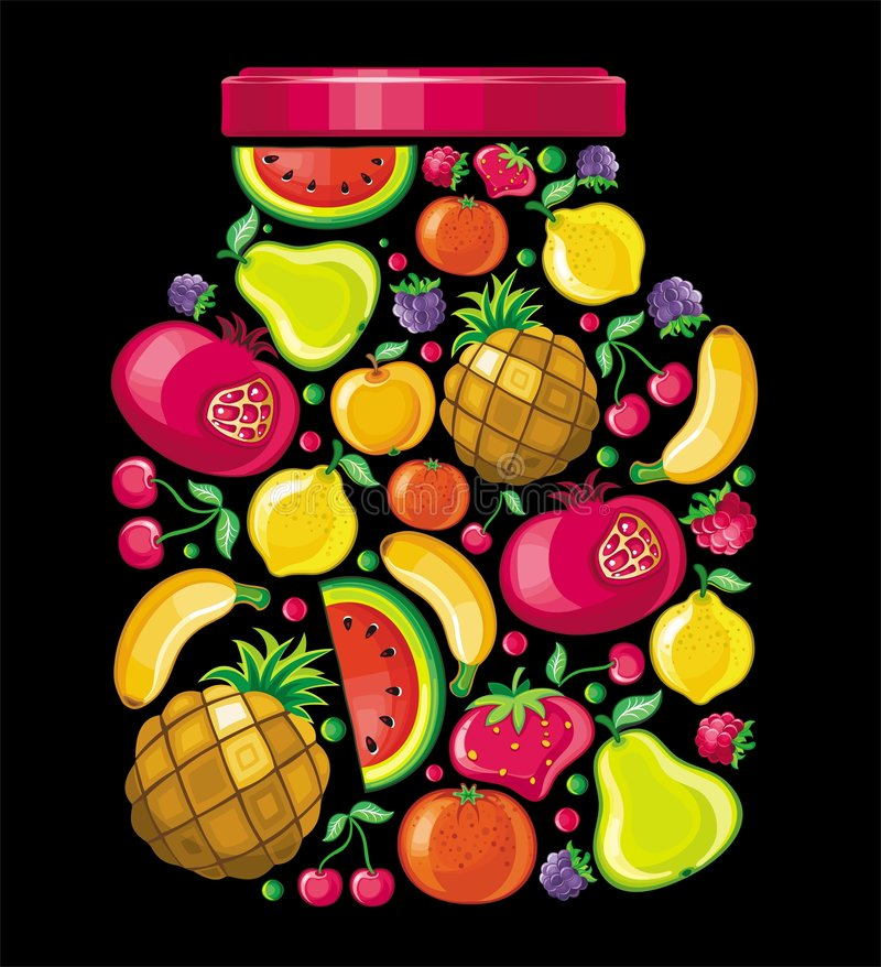 Fruit apple. Different types of delicious fruits combined in a shape of a jar. To see similar, please VISIT MY PORTFOLIO royalty free illustration