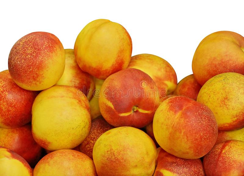 Fruit background texture. nectarine peach yellow red ripe fruit. isolate white background royalty free stock image