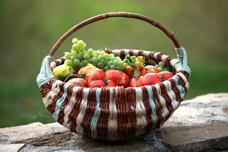 Fruit basket. Represent autumn, health and nature royalty free stock photos