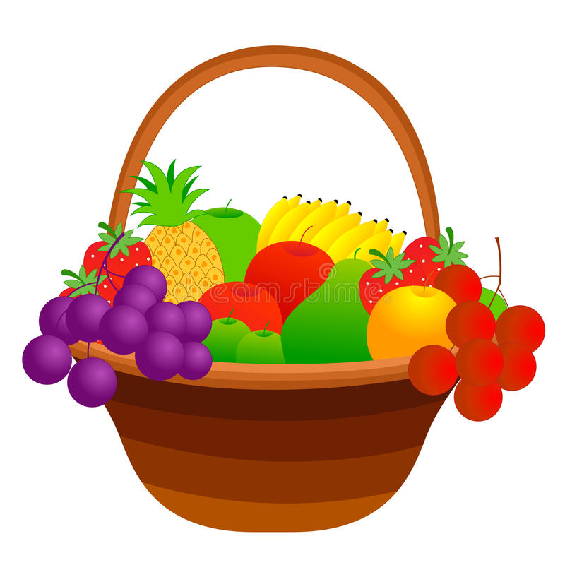 Fruit basket. Illustration of a fruit basket with mixed fruits including apple, pineapple, strawberry, banana, cherries etc. isolated on white background