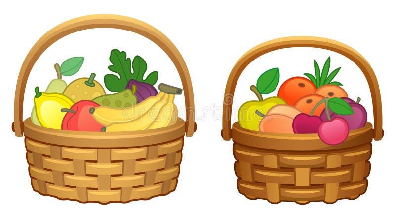 Fruit in basket. Isolated on white stock illustration