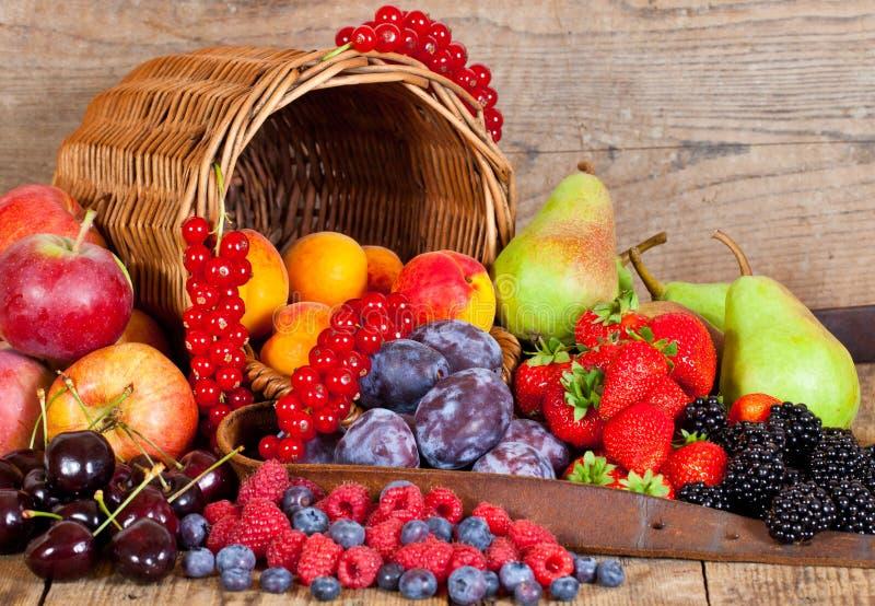 Fruit Basket. A fresh Fruit Basket with European Fruits in Summer stock images