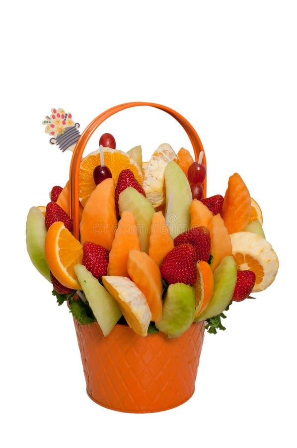 Fruit basket. Isolated on white royalty free stock image