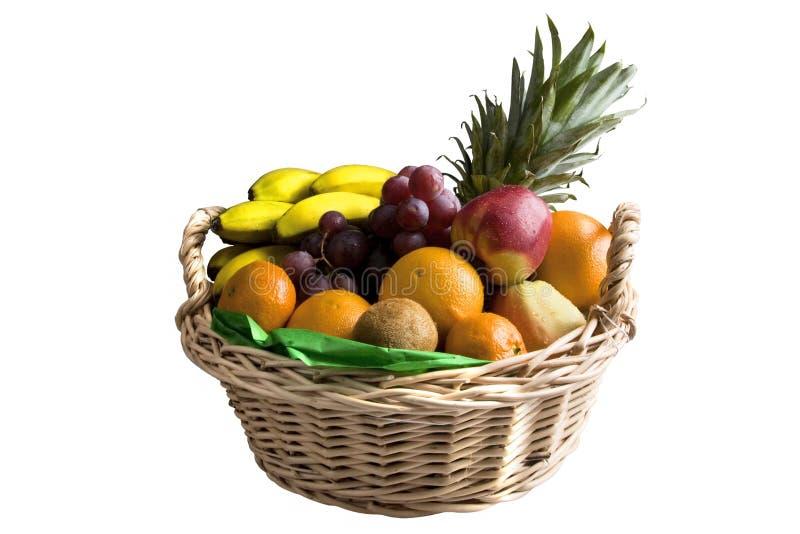 Fruit basket. Isolated on white background stock images
