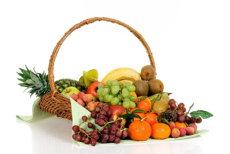 Fruit basket. Seasonal varied tropical fruit basket. Studio, white background royalty free stock photography