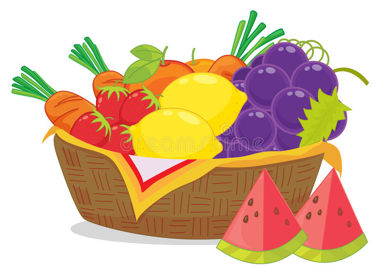 Download Fruit basket stock vector. Illustration of carrots, grapes - 8877810