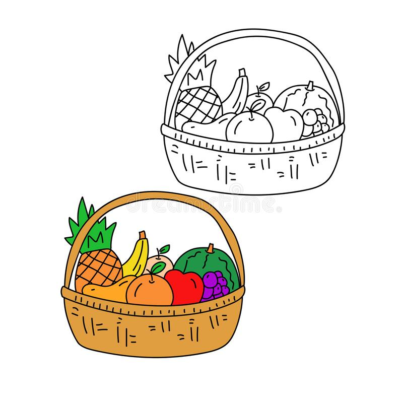 Free Fruit Basket Doodle Vector With Black And Colorful Design Royalty Free Stock Images - 188131959