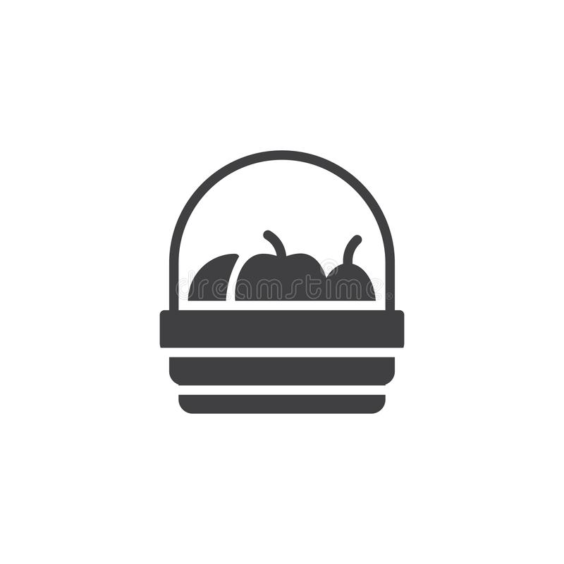 Fruit basket vector icon. Filled flat sign for mobile concept and web design. Harvest simple solid icon. Symbol, logo illustration. Pixel perfect vector stock illustration