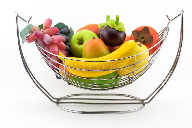 Fruit Basket. On withe stock photography