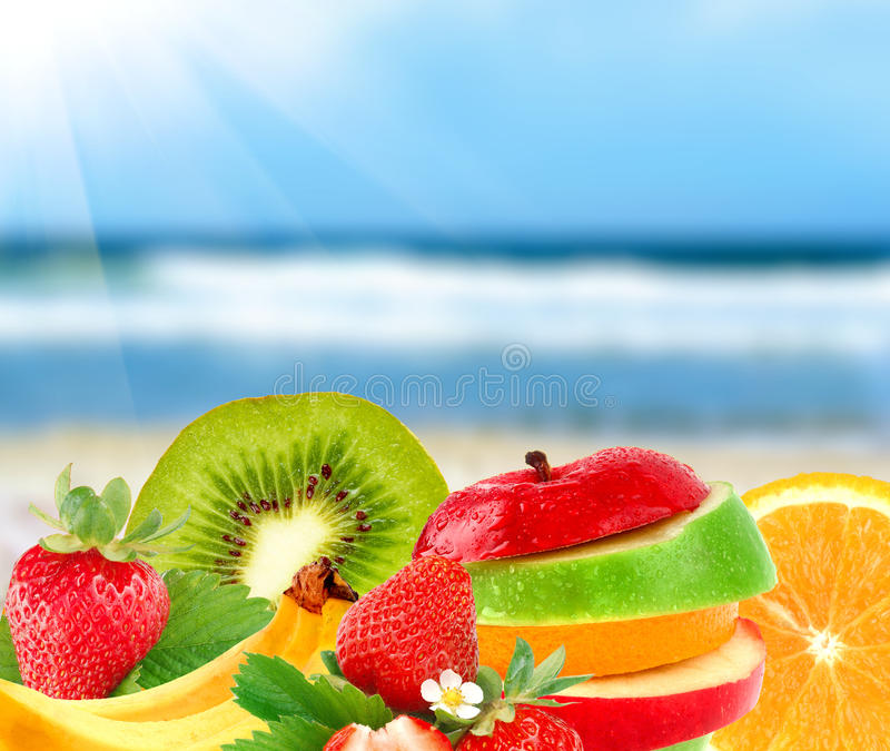 Fruit on a beach royalty free stock images