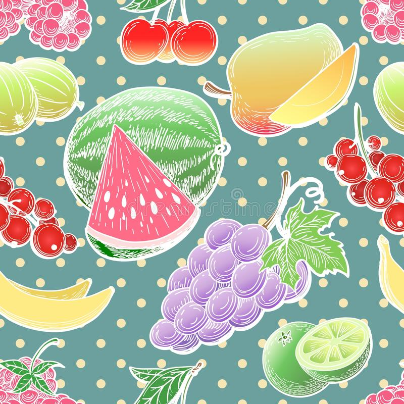 Fruit and berries seamless pattern royalty free illustration