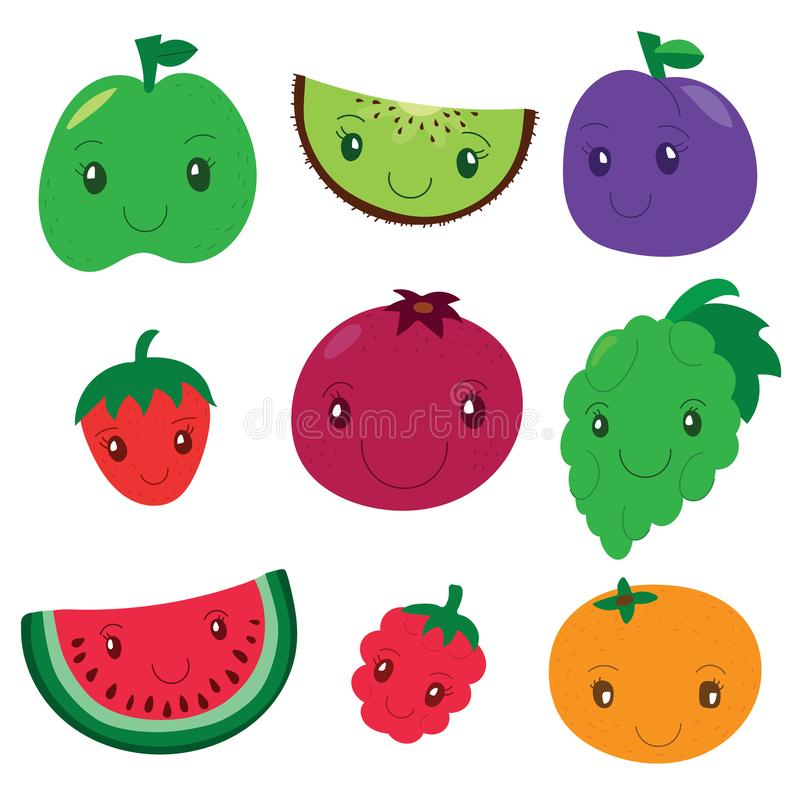 Fruit and berry collection. Vector cartoon smiling characters. C. Olorful cute set. Fresh healthy food. Apple, kiwi, plum and strawberry, pomegranate, grapes and stock illustration