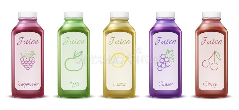 Fruit and berry juice bottles vector illustration of 3D plastic bottles models for fresh drinks packaging design royalty free illustration