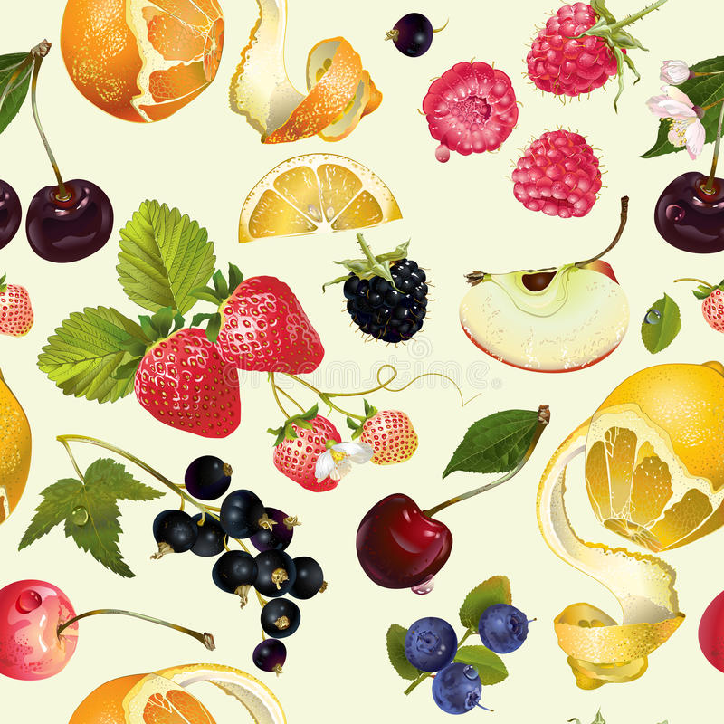 Fruit and berry pattern. Vector fruit and berry seamless pattern. Background design for juice, tea, ice cream,natural cosmetics, sweets, pastries filled with stock illustration