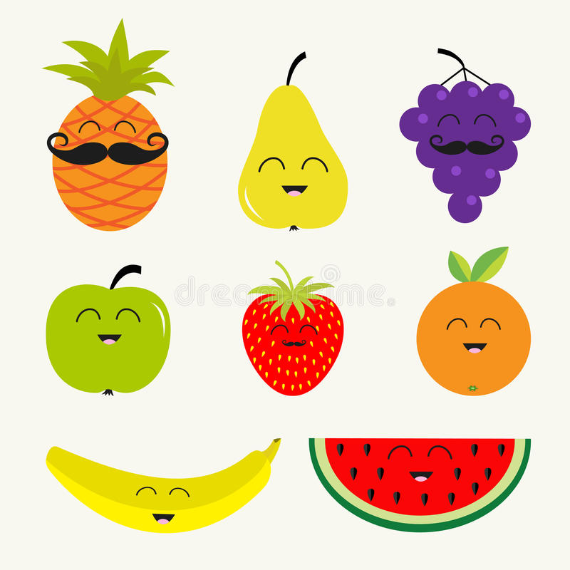 Fruit berry set. Cartoon character face mustache. royalty free illustration