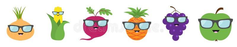 Fruit berry vegetable face sunglasses icon set line. Onion, sweet corn, beet, beetroot, pineapple, grape, apple. Cute cartoon vector illustration