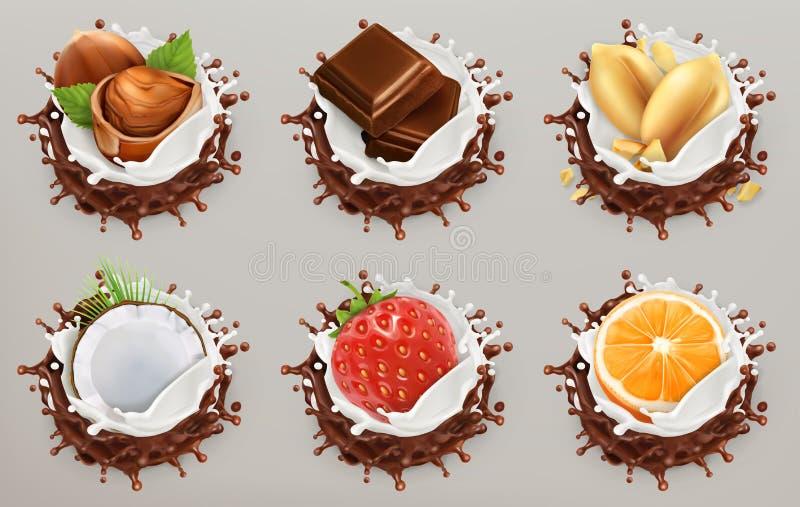 Fruit, bessen en noten Melk en chocoladeplonsen, roomijs Drie kleurenpictogrammen op kartonmarkeringen royalty-vrije illustratie