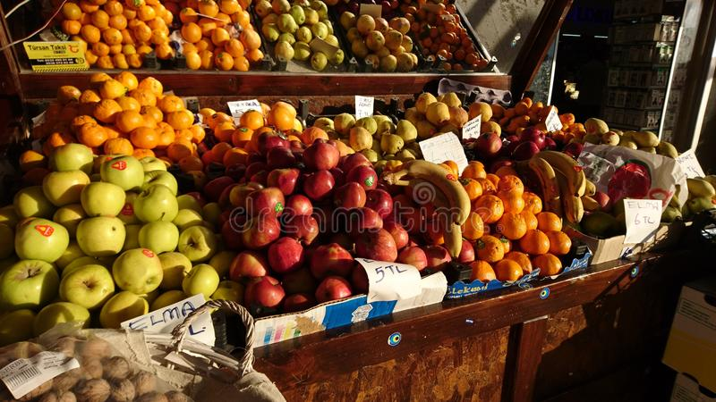 Fruit booth. In turky in the morning stock photography