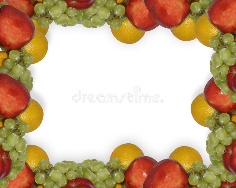 Fruit border. Image composition of fresh fruit, apples, oranges and grapes for edge, border or frame with copy space on White background vector illustration