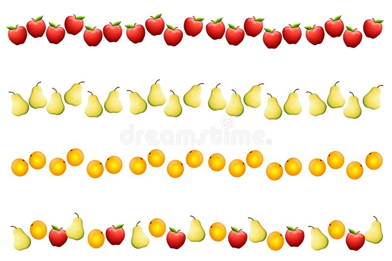 Fruit Borders or Dividers royalty free illustration