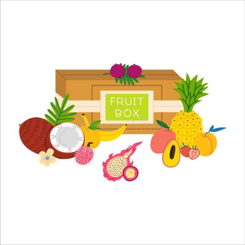 Fruit box flat vector illustration royalty free illustration