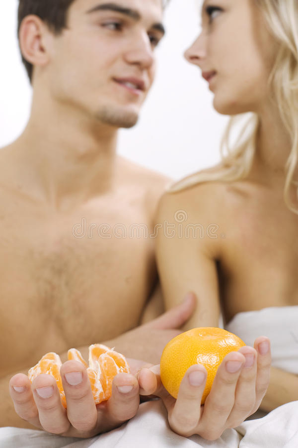 Download Fruit breakfast in bed stock photo. Image of cute, cheerful - 11812060