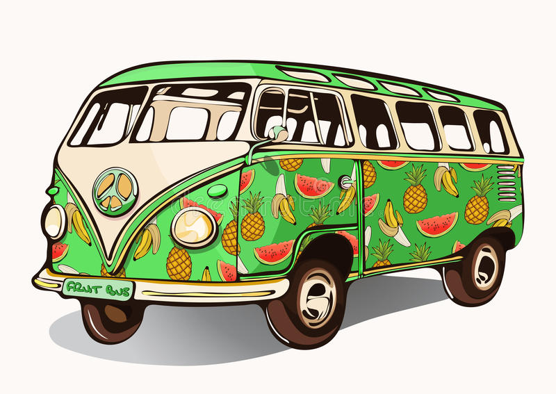 Fruit bus, vintage car, hippie transport with airbrushing. Green mini bus painted different fruits. retro vector illustra stock illustration