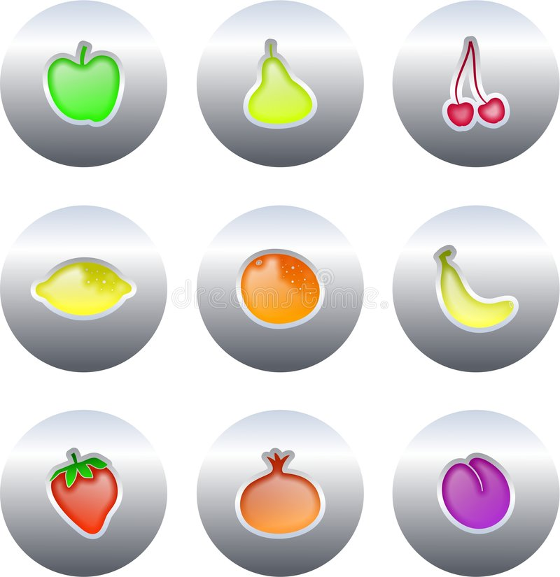 Fruit buttons stock illustration
