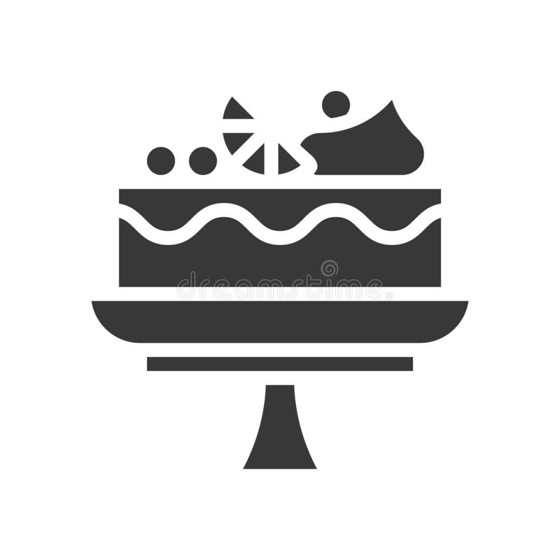 Fruit cake on cake stand, bakery and pastry set, glyph icon vector illustration