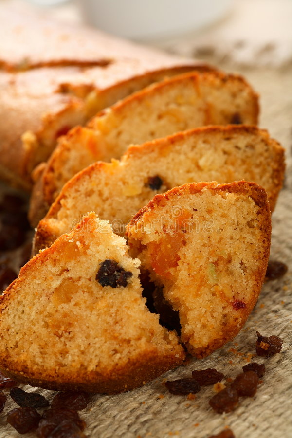 Fruit cake with nuts and raisins stock images