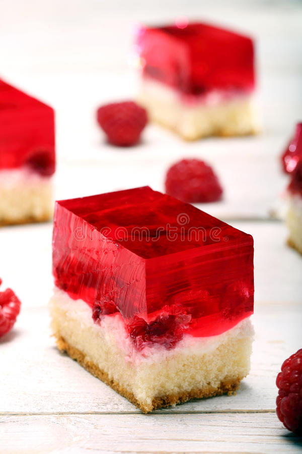 Fruit cake with raspberry jelly royalty free stock photography