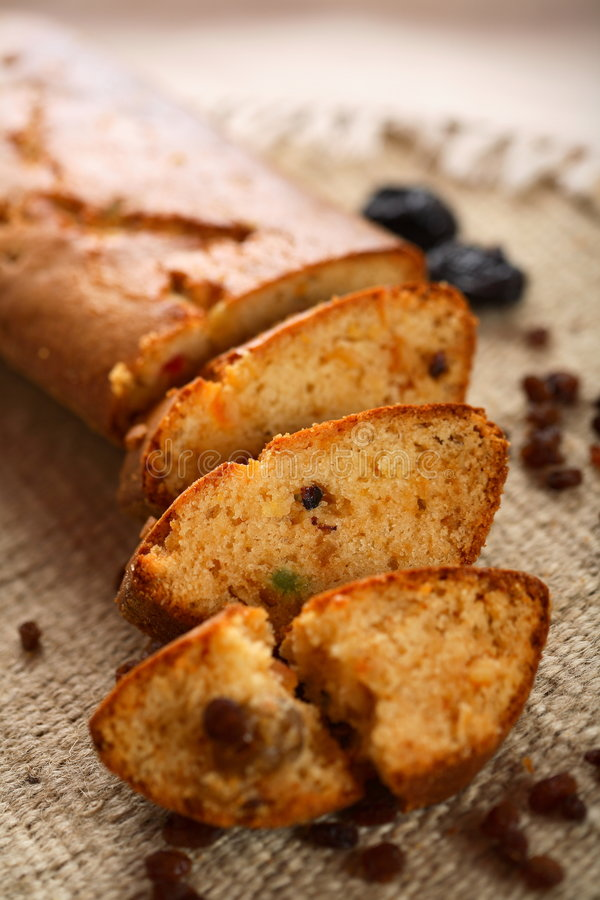 Fruit cake with vanilla stock images