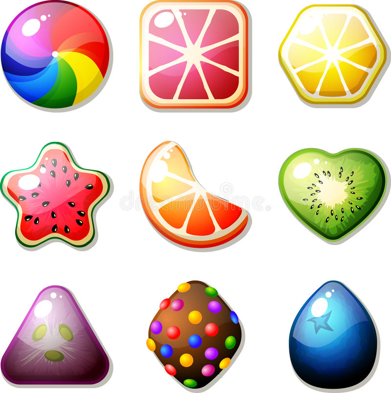 Fruit Candies. Set of fruit candies for match 3 puzzle game Features: - fruit design - 9 shapes (round, square, hexagon, star, segment, heart, triangle, diamond stock illustration