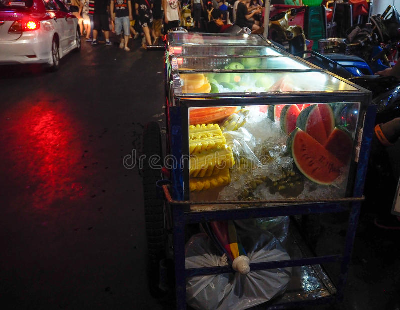 Fruit cart. The cart that full with fresh fruit stock images