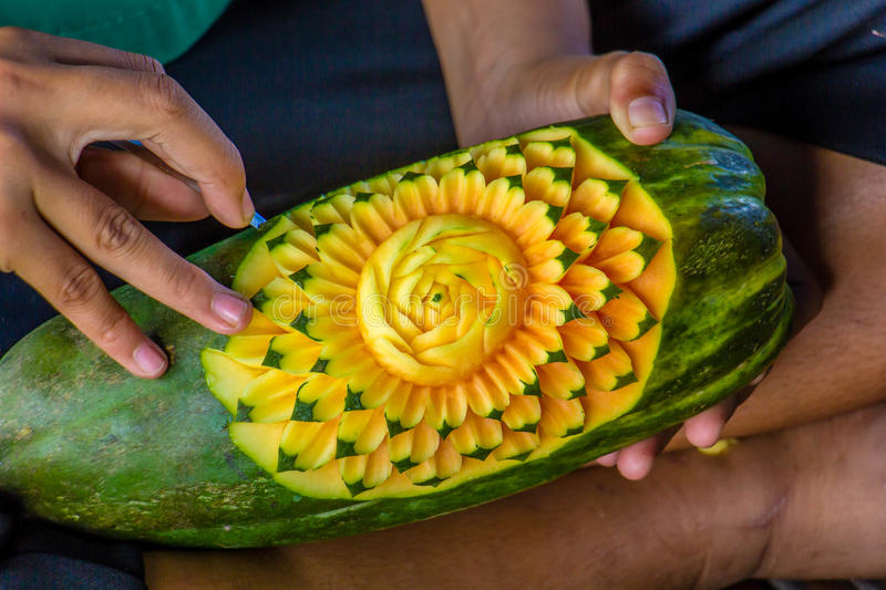 Fruit carving art of Thailand for punctilious food. The fruit carving art of Thailand for punctilious food royalty free stock image