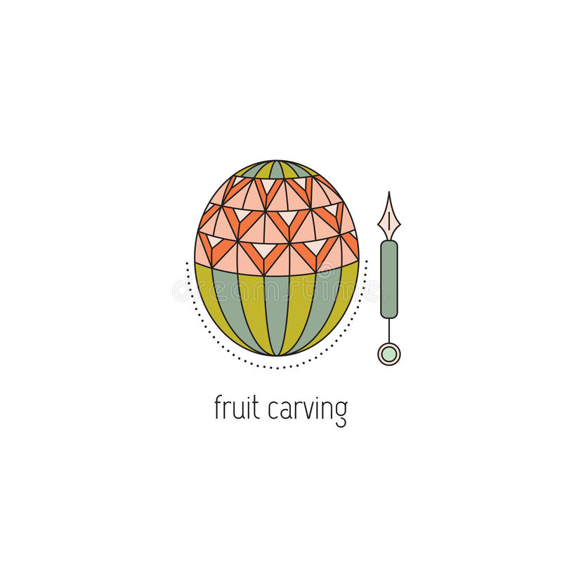 Fruit carving line icon stock illustration