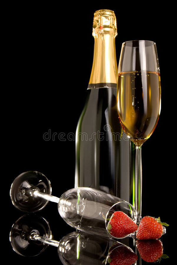 Fruit and champagne royalty free stock photos