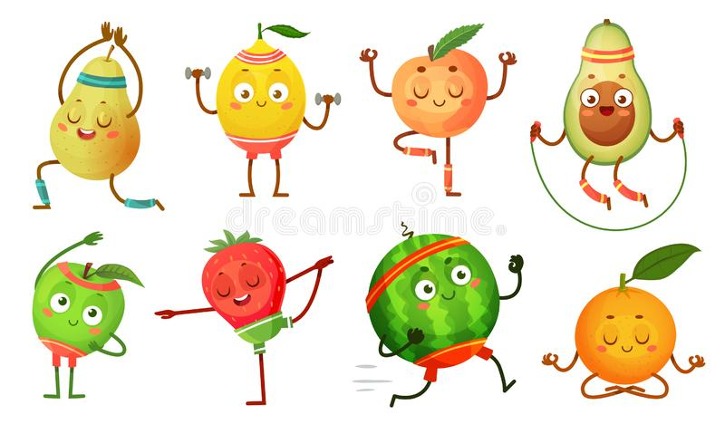 Fruit characters yoga. Fruits in fitness exercises poses, wellness food and funny sport fruit cartoon vector. Fruit characters yoga. Fruits in fitness exercises royalty free illustration