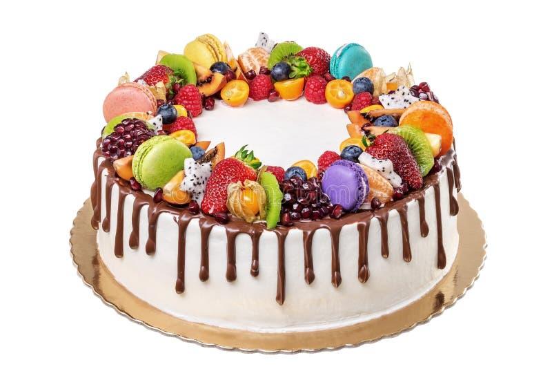 Fruit chocolate birthday cake. On a white background royalty free stock photos
